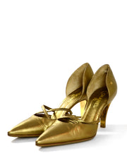 Chanel Gold Leather Pointy Toe Pumps sz 37.5
