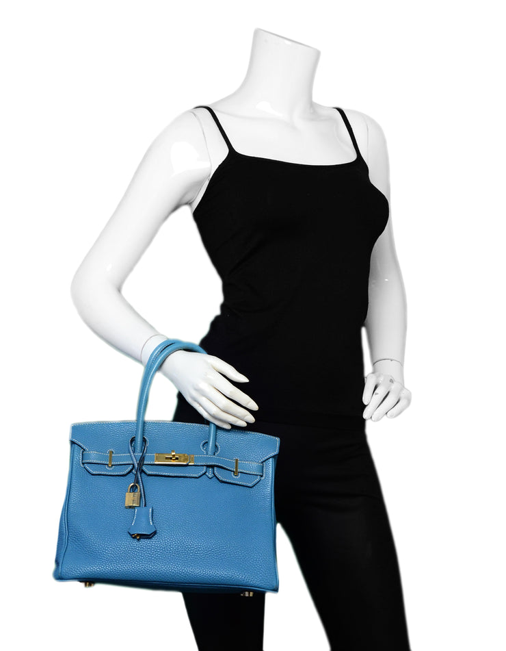 Hermes Blue Jean Togo Leather 30cm Birkin Bag