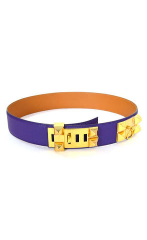 Hermes Iris Purple Leather Collier De Chien CDC Belt sz 85