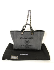 Chanel Black Denim Large Sequins Deauville Tote Bag