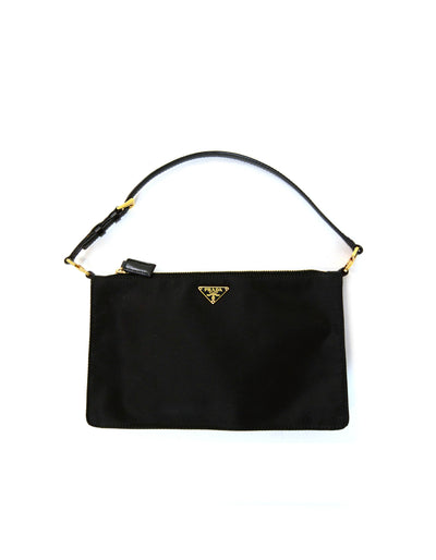 Prada Black/Goldtone Nylon Zip Top Pochette Bag