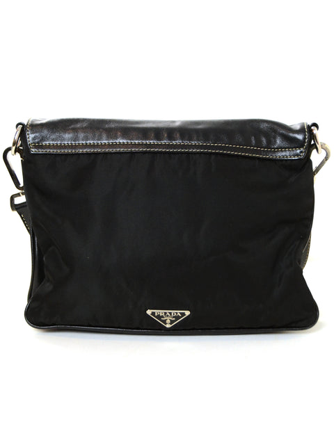 Prada Black Nylon/Leather Pushlock Messenger Bag