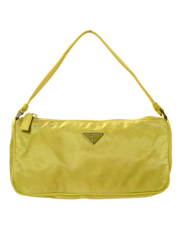 Prada Chartreuse Zip Top Pochette Bag