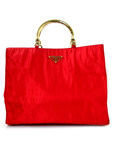 Prada Red Nylon XL Tote w/ Goldtone Metal Handles