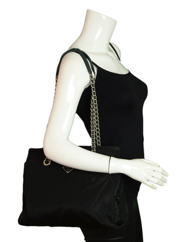 Prada Black Nylon Tote w/Leather Laced Chain
