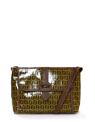 Fendi Brown Monogram Coated Canvas Messenger Bag