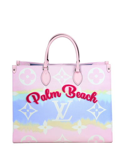 "Louis Vuitton Pink Pastel ""Palm Beach"" Monogram Escale Onthego GM Tote Bag"