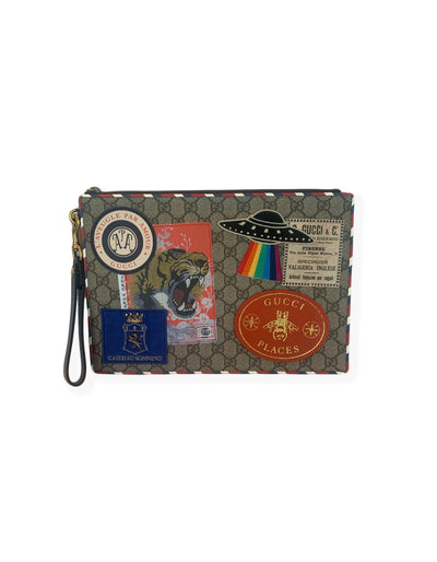 Gucci GG Supreme Monogram Places Courrier Embroidered Zip Pouch