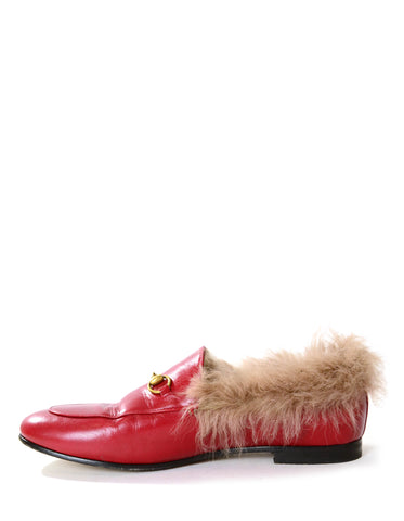Gucci Hibiscus Red Calfskin Lamb Fur Women's Jordaan Loafers sz 40