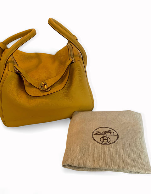 Hermes Yellow Clemence Leather Lindy 30 Bag