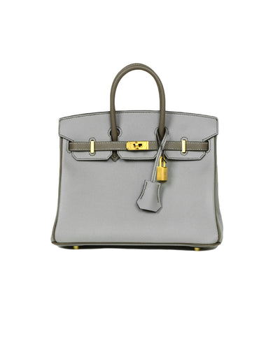 Hermes 2018 Bi-Color Grey Epsom 25cm Horseshoe Special Order Birkin Bag