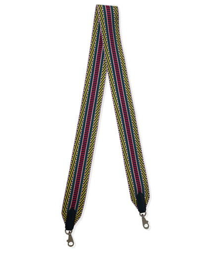 Hermes 2018 Multicolore Toile Canvas Noir Leather Sangle Cavale 50mm Bag Strap
