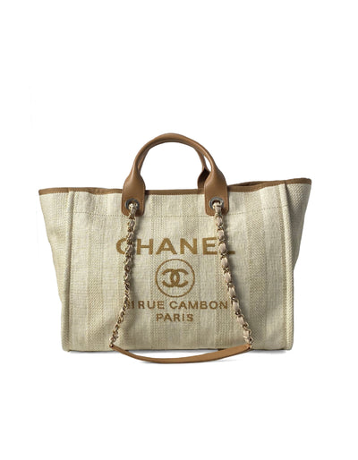 Chanel 2020 Beige Mixed Fibers Striped Large Deauville Tote