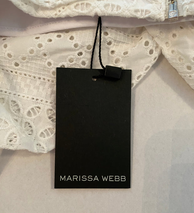 Marissa Webb White Cotton Pascal Eyelet Crop Top sz XS