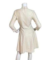 Alexander McQueen Off White Brocade 3/4 Sleeve Dress sz L