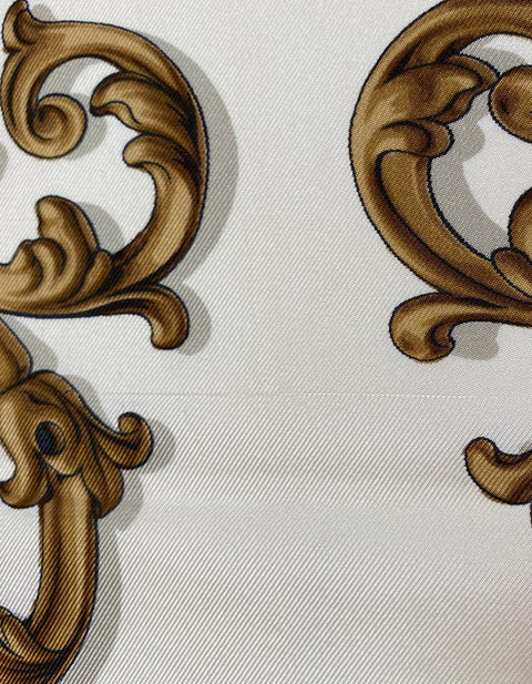 Hermes White/Gold Carrolses d'Or 90cm Silk Scarf