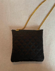 Chanel Black Vintage Quilted Satin Micro Flap Bag Necklace
