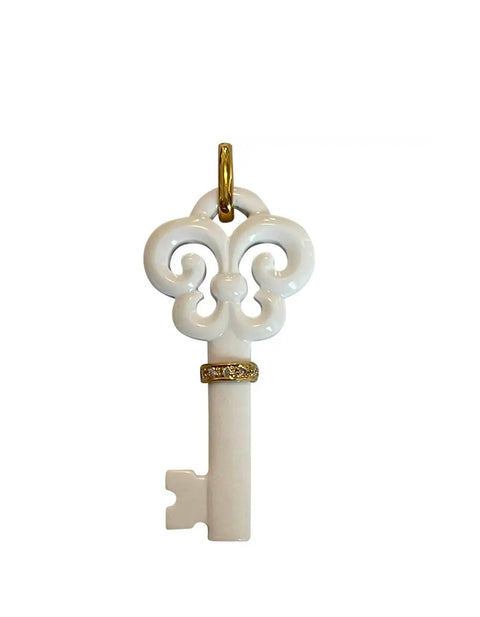 White Agate Fluer De Lis Key Pendant w/ 18k & Diamonds