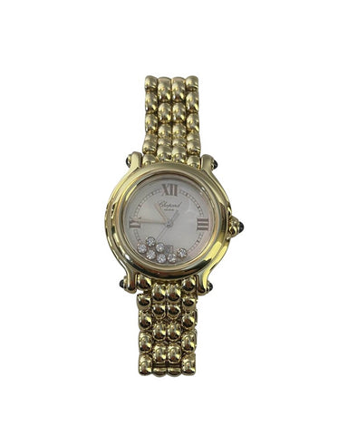 Chopard 18k Gold 32mm Happy Sport Watch w/ 7 Diamonds