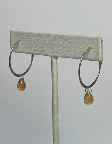 Melissa Joy Manning 14K Hoop Earrings w/ Citrine Stone