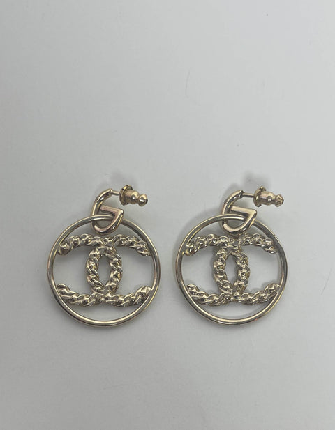 Chanel 2019 Goldtone Crystal High Society CC Hoop Drop Earrings