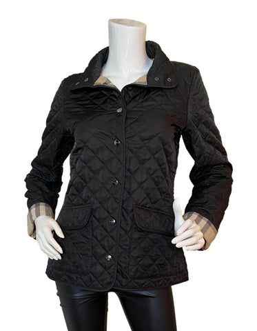 Burberry Brit Black Quilted Jacket w/Nova Plaid Lining sz Small