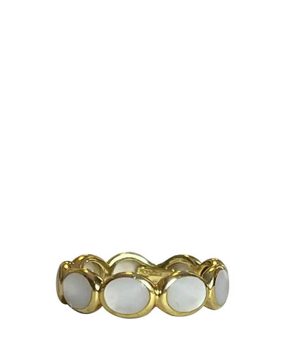 Ippolita 18k Yellow Gold & Mother of Pearl Rock Candy Eternity Band Ring sz 5.5