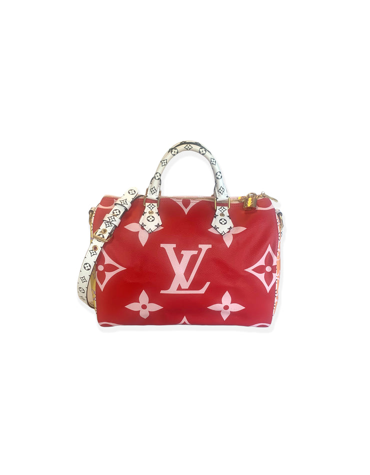 Louis Vuitton Pink & Red Monogram Giant Speedy Bandouliere 30