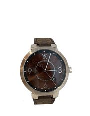 Louis Vuitton Tambour Slim Monogram Macassar 39 Watch