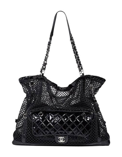Chanel Black Mesh & Patent La Madrague 2 in 1 Tote/ Quilted Flap Bag