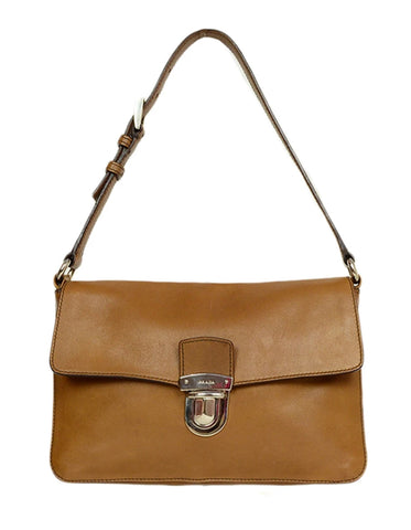 Prada Brown Leather Pushlock Baguette Bag