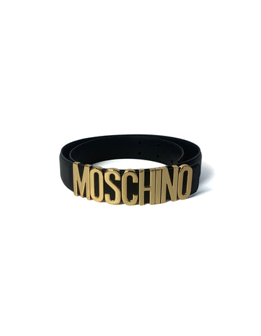 "Moschino Black Leather/ Goldtone Logo Name Belt sz 44 33""-37.75"""