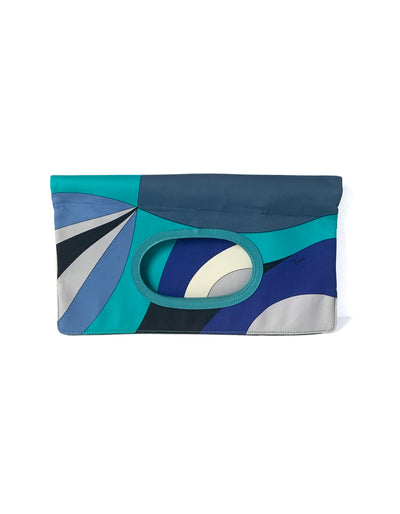 Emilio Pucci Blue & White Fold Over Clutch/ Handbag