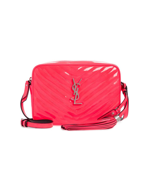 Saint Laurent Neon Pink Matelasse Patent Leather Lou Crossbody Camera Bag