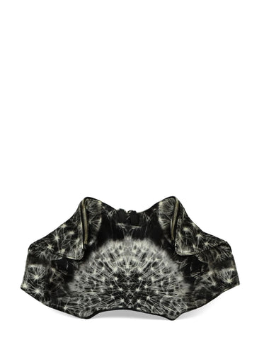 Alexander McQueen Black/White Satin Printed Demanta Clutch