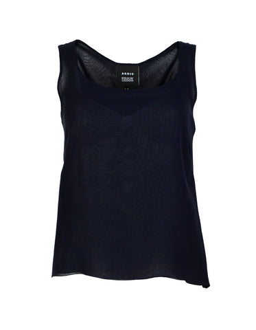 Akris Navy Silk Sleeveless Top Sz 4