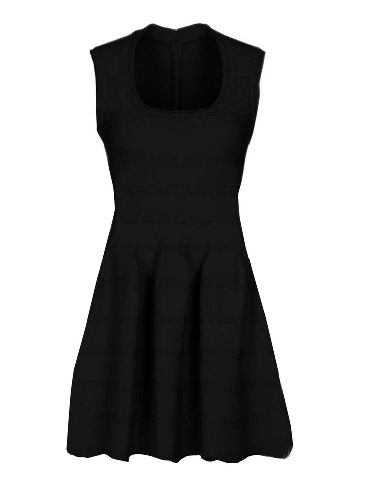 Alaia Black Knit Fit Flare Dress sz FR40