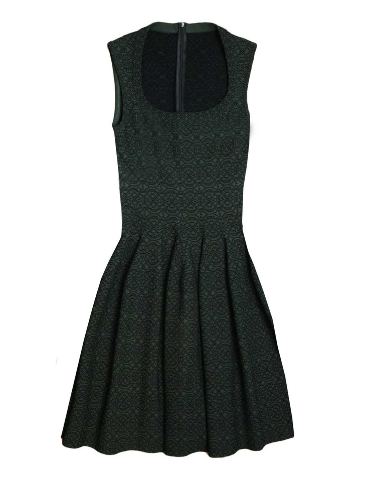 Alaia Dark Green Printed Fit Flare Dress sz FR40