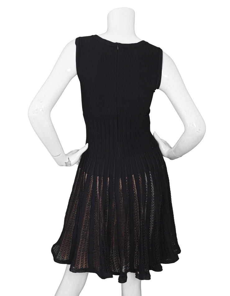 Alaia Black Skater Dress with Nude Underlay sz FR40
