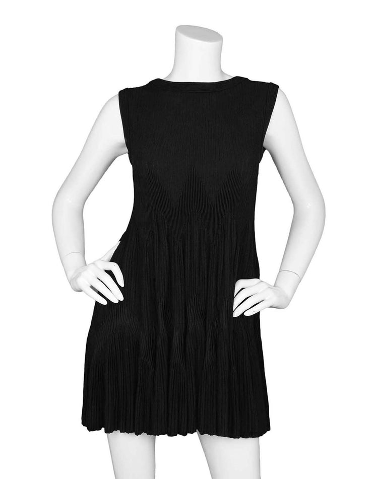 Alaia Black Sleeveless Zigzag Trapeze Dress sz FR42