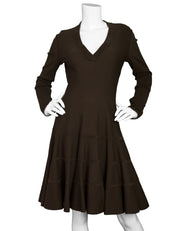 Alaia Brown Wool Fit & Flare V-Neck Dress Sz FR42