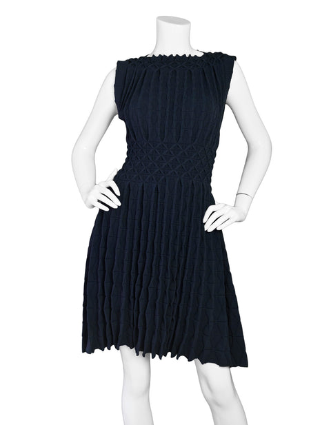 Alaia Navy Sleeveless Gathered Fit Flare sz FR42