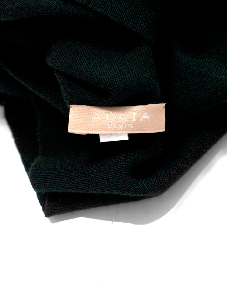 Alaia Dark Green Knit Sleeveless Top sz FR40