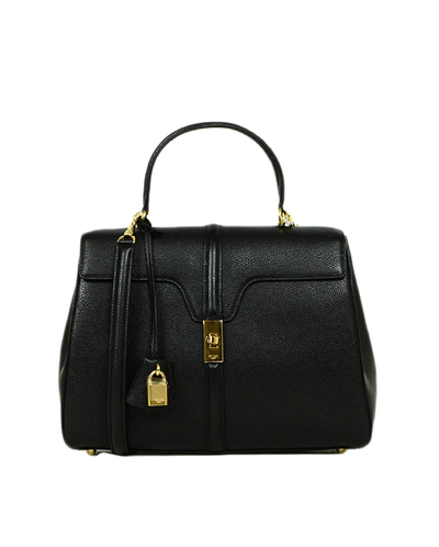 Celine Black Grained Calfskin Medium 16 Top Handle Bag NWT rt. $4,550