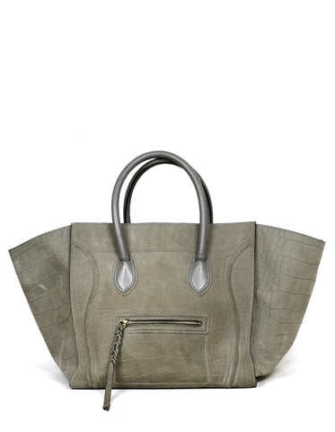 Celine Grey Crocodile Stamped Nubuck Large Phantom Luggage Tote