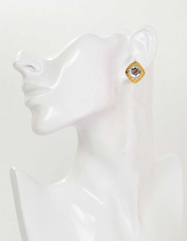Chanel Vintage Gold & Crystal Clip On Earrings
