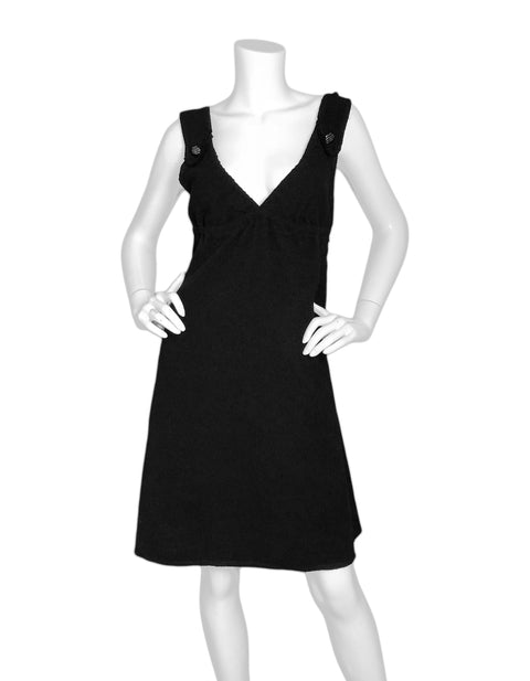 Chanel Black Wool Dress Sz FR42