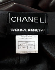Chanel Brown Leather Button Up Coat Sz FR40
