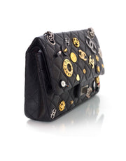 Chanel Black CC Lucky Charms 2.55 Reissue 225 Double Flap Bag
