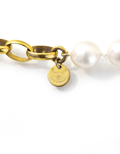 Chanel Vintage Goldtone Chain Link & Pearl Necklace
